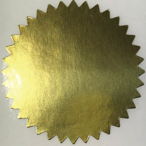 2 Inch Shiny Gold Foil Notary & Certificate Seals, Roll of 1,000 Stickers