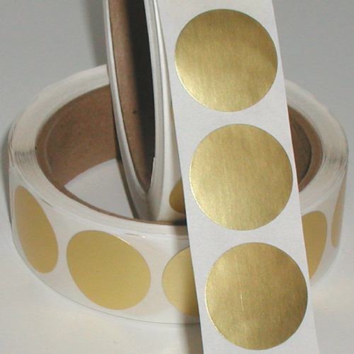 "1"" Dull Matte Gold Foil Circle Seals"