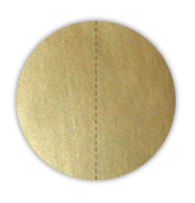"""1"""" Dull Matte Gold Foil Circle Seals with Vertical Perforations"""