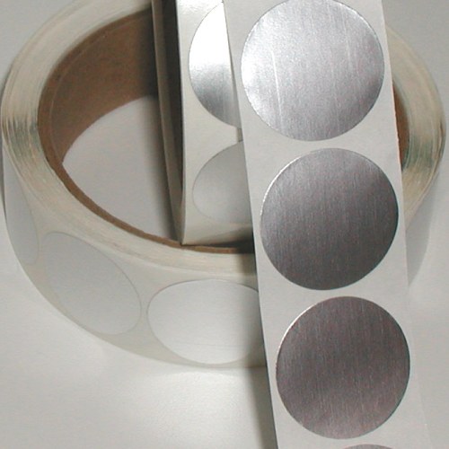 0.5 Inch Circle, Dull Silver Foil Seals, Roll of 100 Stickers