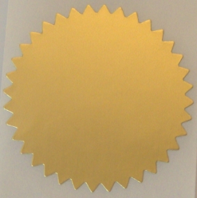"2"" Dull Gold Serrated Edge Foil Circle Stickers"