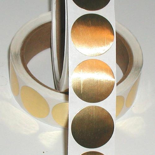 """1.75"""" Bright Shiny Gold Foil Circle Seals"""
