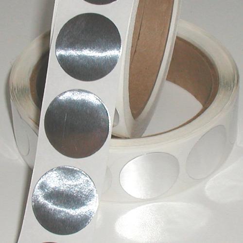 "1.75"" Bright Shiny Silver Foil Circle Stickers"
