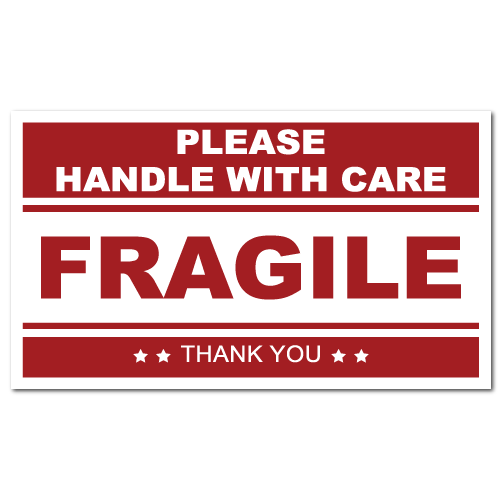 5 x 3 FRAGILE Handle with Care, ON SALE!, Roll of 500 Stickers