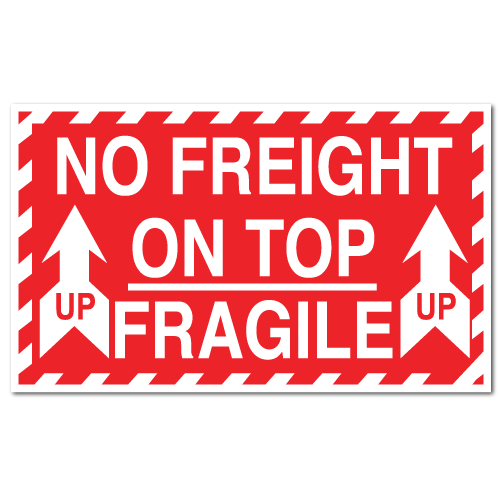 Fragile No Freight On Top Stickers