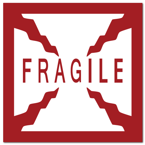 fragile square stickers 4 x 4 square corner square material white ...