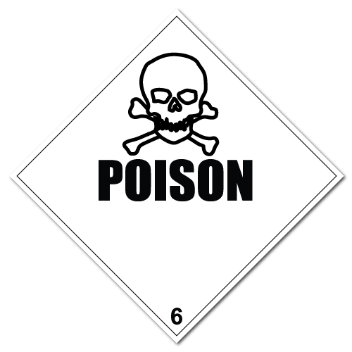 4 x 4 Poison HAZMAT Class 6, Roll of 500 Stickers
