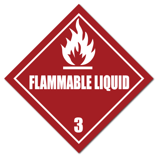 HAZMAT Class 3 Flammable Liquid Stickers