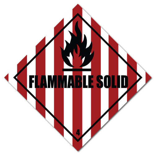 4 x 4 Flammable Solid HAZMAT Class 4, Roll of 100 Stickers