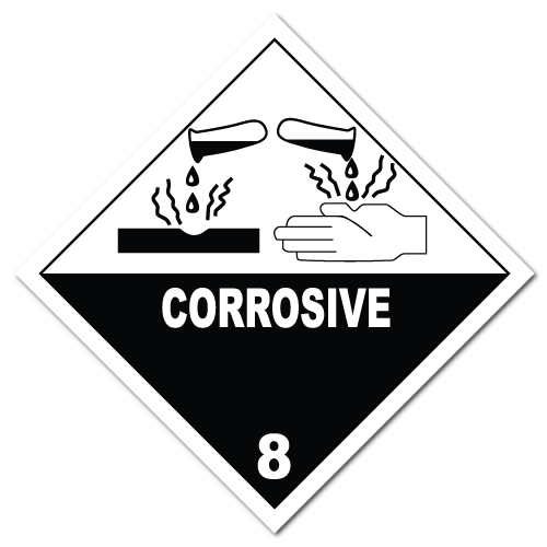 HAZMAT Class 8 Corrosive Hazardous Materials Stickers