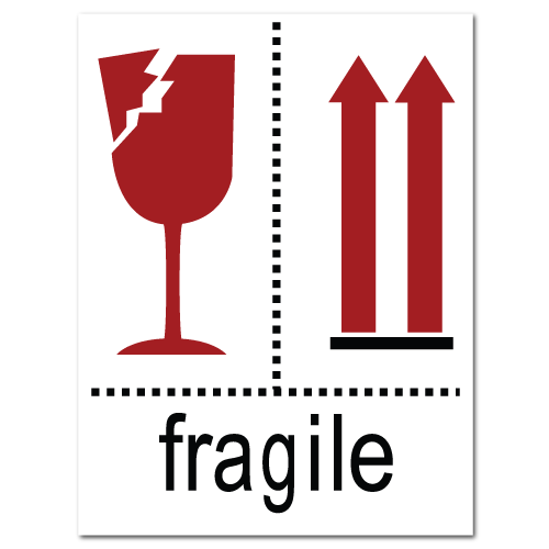 Fragile Broken Glass and Arrow Stickers