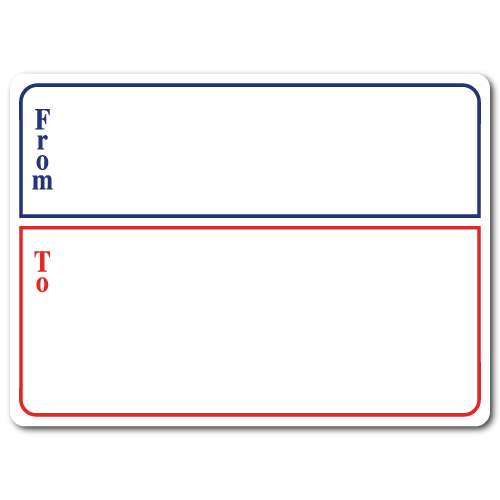 Mailing Labels with Borders, 4 x 3, Red & Blue, Roll of 100