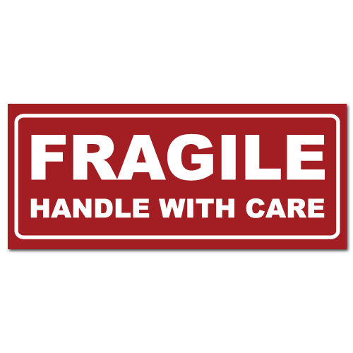 Small Fragile Handle With Care Rectangle Stickers