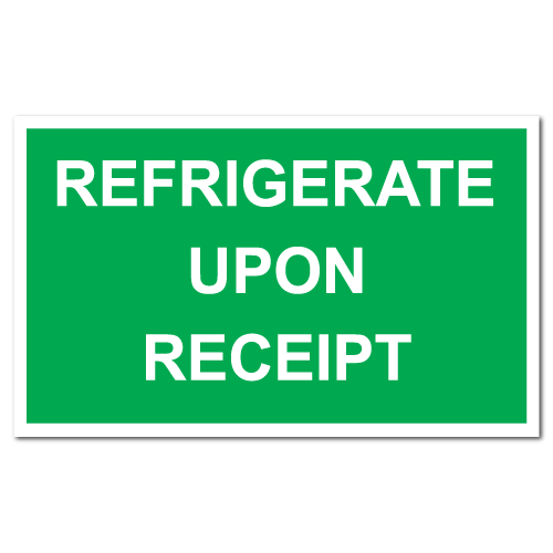 Refrigerate Upon Receipt Stickers