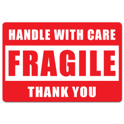 """3"""" x 2"""" Fragile Handle with Care Stickers"""