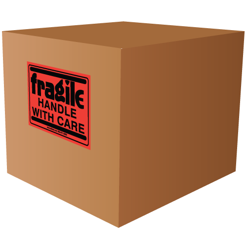 """4"""" x 3"""" Fragile Handle with Care Fluorescent Labels"""