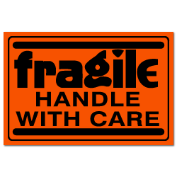 "4"" x 3"" Fragile Handle with Care Fluorescent Stickers"