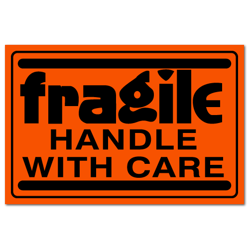 "3"" x 2"" Fragile Handle with Care Fluorescent Stickers"