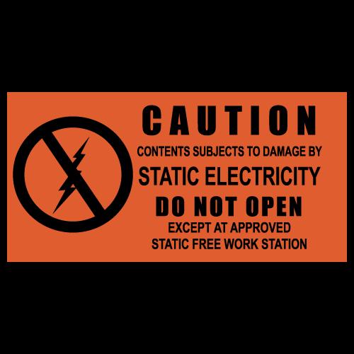 "1.5"" x 3"" Caution Static Electricity Labels"