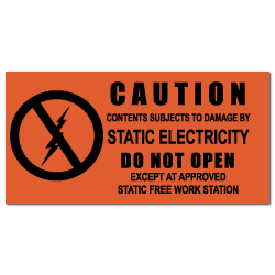 "1.5"" x 3"" Caution Static Electricity Labels"