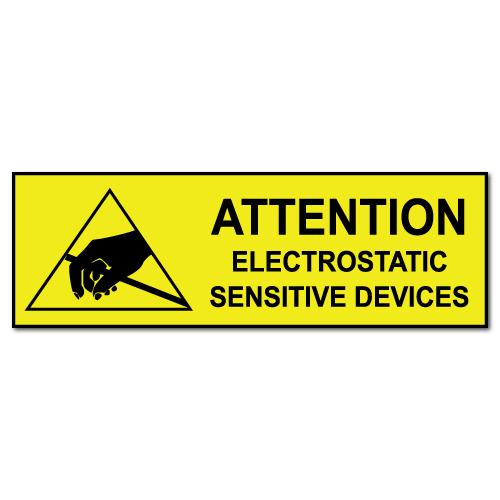 "1"" x 3"" Attention Electrostatic Sensitive Labels"