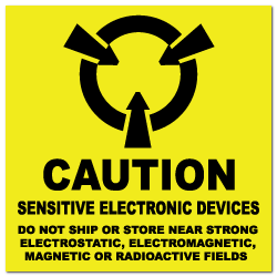 "4"" x 4"" Caution Sensitive Electronic Devices Labels"