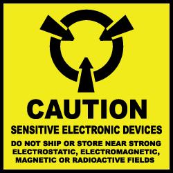 """4"""" x 4"""" Caution Sensitive Electronic Devices Labels"""