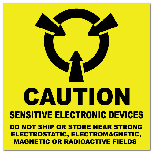 "2"" x 2"" Caution Sensitive Electronic Devices Labels"