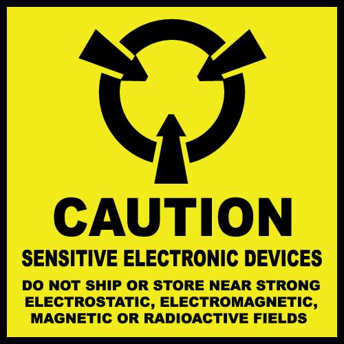 """2"""" x 2"""" Caution Sensitive Electronic Devices Labels"""