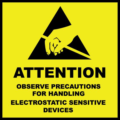 "4"" x 4"" Attention Electrostatic Sensitive Devices Labels"