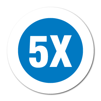 """5X"" Garment Stickers"