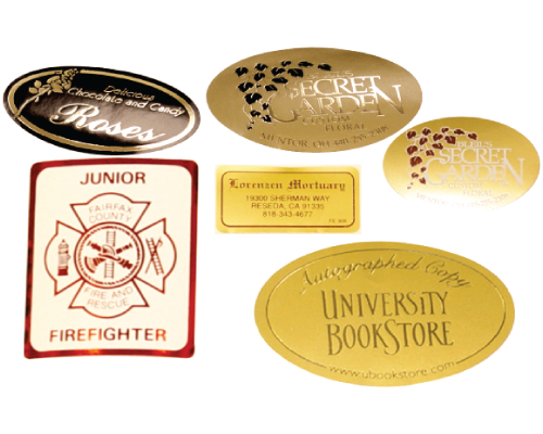 Custom Hot Foil Stamped labels, multiple Sizes, Shapes, Materials and Foil Colors Available at Sticker.com