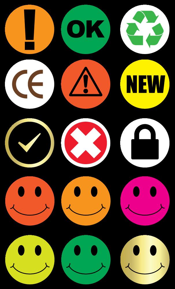 Print On-Demand Pre-Designed Symbol Stickers