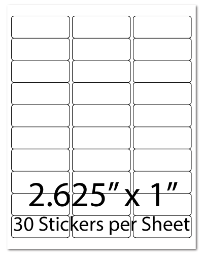 L12, 2.625 x 1, 30 Stickers per Sheet