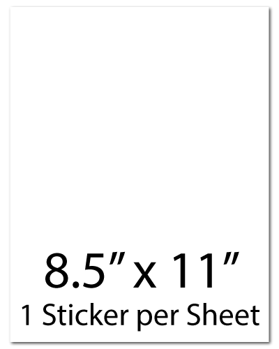 L1, 8.5 x 11, 1 Sticker per Sheet