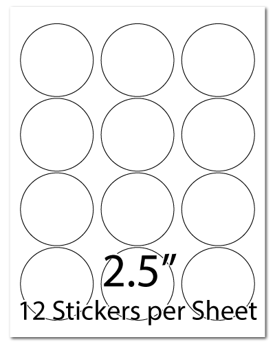 L23, 2.5 Diameter, 12 Stickers per Sheet