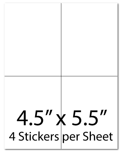 L3, 4.25 x  5.5, 4 Stickers per Sheet
