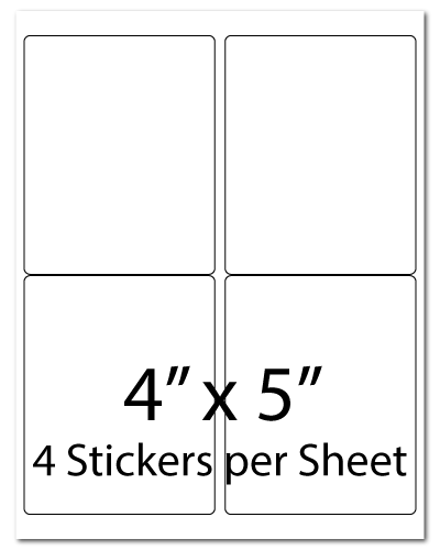 L5, 4 x 5, 4 Stickers per Sheet