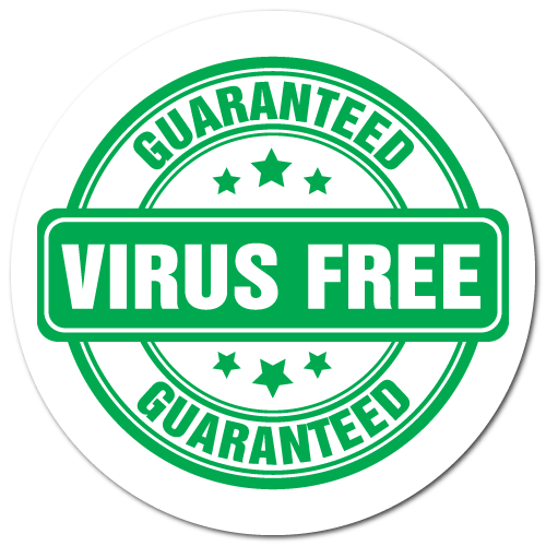 1.25 Inch Circle Guaranteed Virus Free Sticker