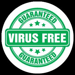 1.25 Inch Circle Guaranteed Virus Free Sticker