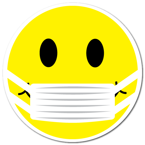 "1"" Yellow Smiley Face with Mask Circle Labels"