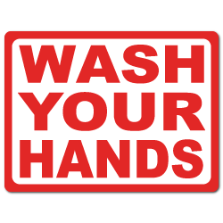 "4"" x 3"" Wash Your Hands Stickers."