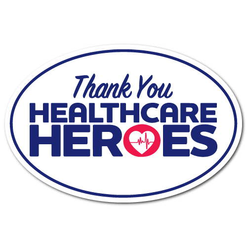 Thank you Healthcare Heros Decals Stickers, 6 x 4 Oval, Pack of 50