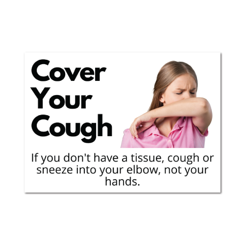 Cover Your Coughs Stickers, 5 x 7 Rectangle, Pack of 10