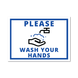 5 x 7 Inch Rectangle Please Wash Your Hands Stickers