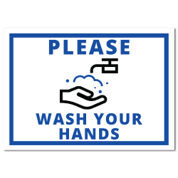 8 x 10 Inch Rectangle Please Wash Your Hands Stickers