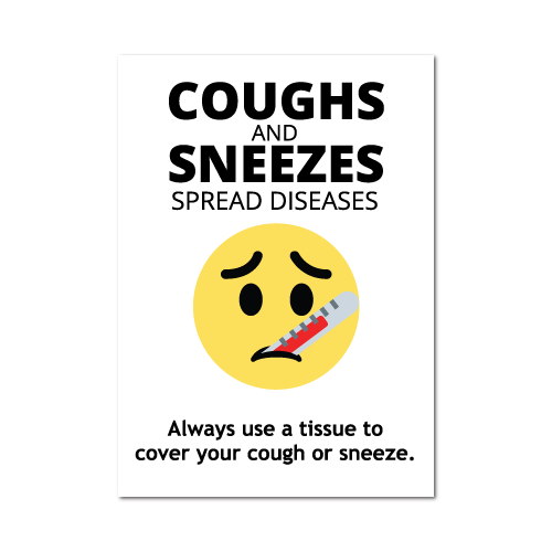 Coughs and Sneezes Spread Diseases Stickers, 5 x 7 Rectangle, Pack of 10