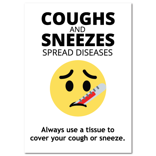 Coughs and Sneezes Spread Diseases Stickers, 8 x 10 Rectangle, Pack of 25