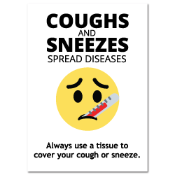 8 x 10 Inch Rectangle Coughs and Sneezes Spread Diseases Stickers