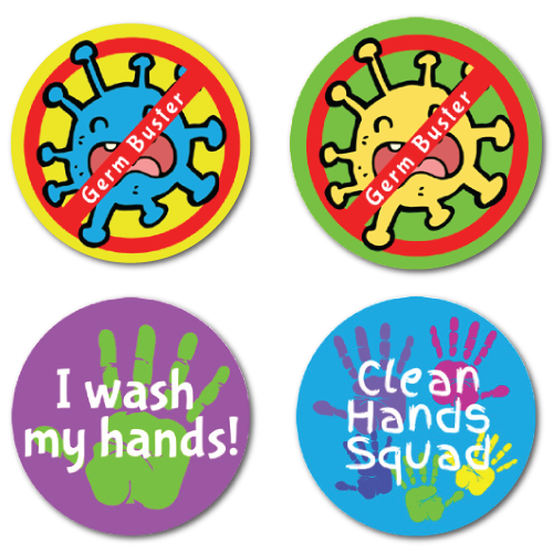 Germ Buster - 4 Alternating Designs Stickers